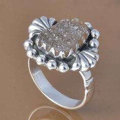 NATURAL DRUZY 925 SOLID STERLING SILVER EXCLUSIVE RING 6.73g DJR7479 #Handmade #Ring
