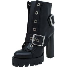 Alexander McQueen Black Leather Buckled Combat Boots Size 40 ❤ liked on Polyvore featuring shoes, boots, leather boots, biker boots, black military boots, black shoes and leather army boots