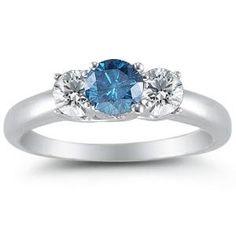 14K White Gold Round 3 Stone Blue Diamond