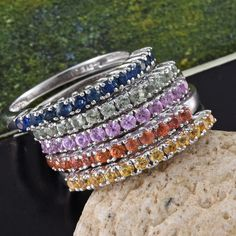 Set of 5 Multi Sapphire Platinum Over Sterling Silver Rainbow Half Eternity Band Rings
