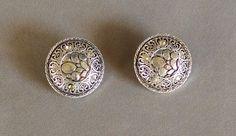 Silver Rhinestone Earrings Coin Jewelry Clip On Earrings Button Earrings Vintage by LandofBridget on Etsy