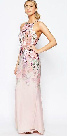 Pale pink floral maxi dress