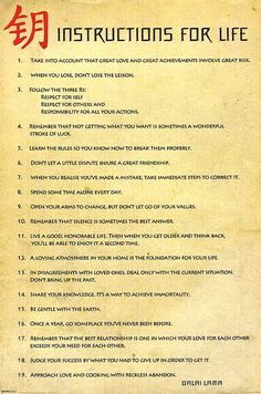 Dalai Lama's instructions for life