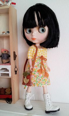 Blythe Doll Outfit / Dress And Bag In Set / Blythe Clothes /
