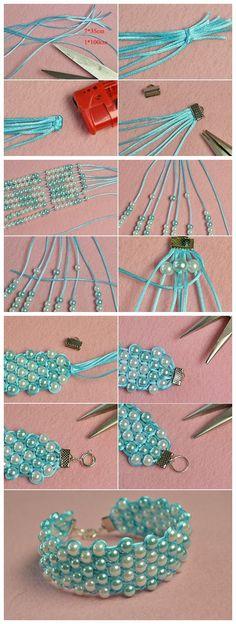 Beebeecraft tutorials on how to make pearlbeads string braidedbracelet Jewelry Making Tutorials, Jewelry Making Beads, Beaded Jewelry, Jewellery, Handmade Jewelry Bracelets, Jewelry Patterns, Bracelet Patterns, Beading Patterns, Beading Projects
