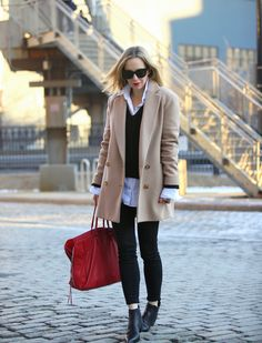 Coat: Theory (similar here)   Button Down: Pink Tartan c/o of Lord & Taylor   Sweater: Express   Denim: Current/Elliott 'Stiletto'   Boots: Acne 'Jensen' (also, in suede)   Handbag: Balenciaga 'Papier'   Lipstick: MAC Red mixed with MAC Ruby Woo (with Cherry lipliner)