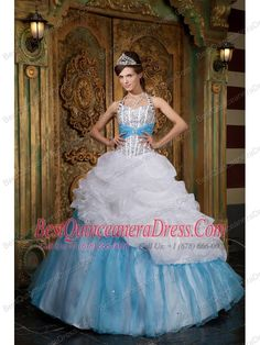 detachable quinceanera dresses blue and purple | ... Blue A-line / Princess Halter Floor-length Beading Quinceanera Dress