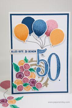 50. Geburtstag mit Swirly Bird und Luftballons von Stampin' Up!