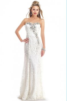2014 Sweetheart Sheath/Column Prom Dress Lace Beaded Neckline Floor Length