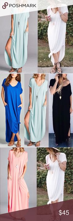 CHARLIZE solid boho dress - L. MINT LOOSE FIT DRESS WITH POCKET AND SIDE OPEN DETAIL. Seriously one of the most comfy dresses EVER! Loose oversized fit.   AVAILABLE IN BLACK, royal blue, light mint & ivory.   NO TRADE, PRICE FIRM Bellanblue Dresses Maxi