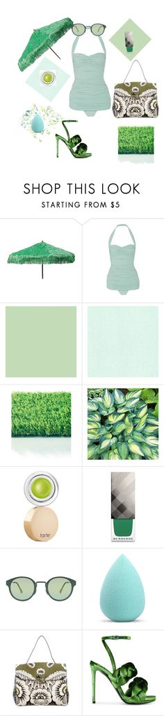"""""""green shades of summer"""" by greensparkle1 ❤ liked on Polyvore featuring Parasol, Norma Kamali, tarte, Burberry, RetroSuperFuture, My Makeup Brush Set, Valentino and Marco de Vincenzo"""
