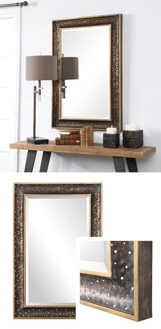 "This iron mirror features a subtle sloped profile frame with heavy piercing, finished in a rustic dark bronze, accented with antique gold inner and outer edges. The mirror is surrounded by a generous 1 1/4"" bevel and may be hung horizontal or vertical."