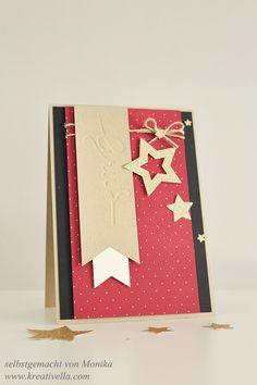 Weihnachtskarte - christmas card  mit selbstgemachter Prägeschablone mit den winterlichen Weihnachtsworten von Stampin' Up!  I made an embossing folder with the christmas greetings thinlits dies from Stampin' Up!