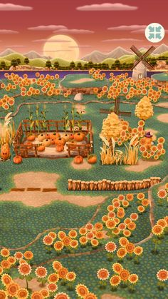 """""""i made an updated sunflower pumpkin patch with the new tourney items and it turned out so cute! Animal Crossing Pc, Animal Crossing Pocket Camp, New Leaf, Cute Wallpapers, Games For Kids, Halloween Decorations, Pop Culture, Patches, Fan Art"""