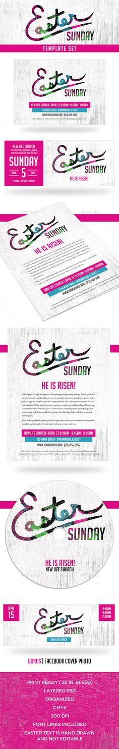 Easter Sunday Church Template Set - Pastel - Church Flyers