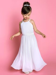 A-line Floor-length Flower Girl Dress - Chiffon Stretch Satin Jewel with Sash / Ribbon Side Draping - USD $79.99 ! HOT Product! A hot product at an incredible low price is now on sale! Come check it out along with other items like this. Get great discounts, earn Rewards and much more each time you shop with us!