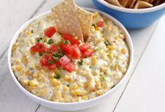 Hot Corn Dip by ezrapoundcake from Trisha Yearwood's 'Home Cooking with Trisha Yearwood': Hot out of the oven, this is a highly highly addictive, warm, spicy, creamy, cheesy dip that does great things for chips. #Dips #Corn_Dip