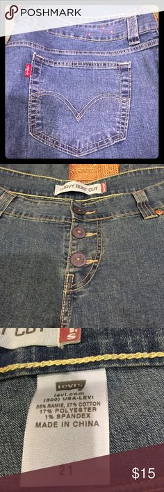 """Levi's Curvy Boot Cut Capris Plus Size Levi's capris with button front fly, floral embellishments on waist and on leg, these are light weight 45"""" waist 20 1/2"""" inseam  , they are marked Size 21 fits a 20/22 Levi's Jeans Ankle & Cropped"""