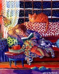 Cats Tea and Books! - Cozy Night by Kim Parkhurst Reading Art, Woman Reading, Reading Quotes, I Love Books, Good Books, Illustration Art, Illustrations, Mary Engelbreit, Art Graphique