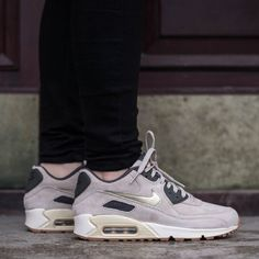 9aab8fbc5cd366 Nike Air Max 90 Premium Suede Sneakers •Tan suede Air Max 90 sneakers with  metallic