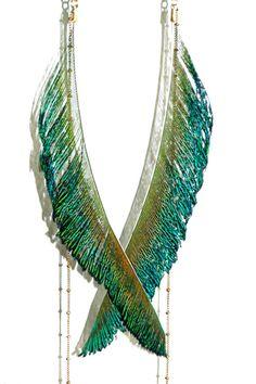 Eliixir I Love Goooold Peacock Feather Earrings