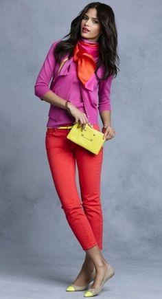 ♥ღ❦ ℒℴvℯly raspberry cardigan and red scarf and skinnys