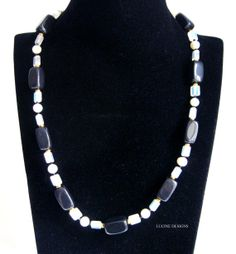 Black #onyx white pearl #necklace, bridal party birthday gift