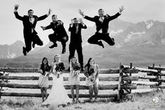 Slightly different wedding party jump photo - Idaho