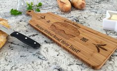 Our beautiful Bread Boards are intricate in detail and personalized with family names. A truly thoughtful and useful gift for any gift giving occasion. Bread Board, Wood Cutting Boards, Types Of Wood, Laser Engraving, Home Gifts, Thoughtful Gifts, House Warming, Personalized Gifts, Bamboo
