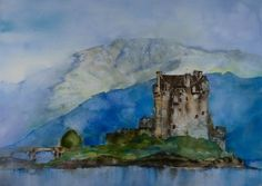 The view on Eilean Donan Castle - one of the most recognised castles in Scotland.   The painting had been created in the watercolour technique with additional use of colour inks and colour ink sticks.  Materials and paper used for this painting are of the best quality: Langton Prestige Watercolour paper - 140
