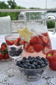 4th of July Spritzer with blueberries and strawberries