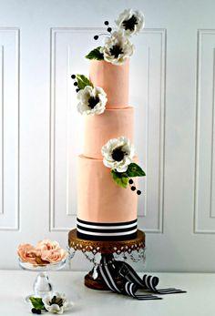Peach and Black Anemone Wedding Cake by PrimaCristina - http://cakesdecor.com/cakes/304032-peach-and-black-anemone-wedding-cake