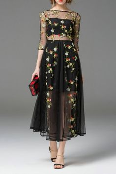 Lady Eyes Black Flower Embroidered See Through Swing Dress | Midi Dresses at DEZZAL
