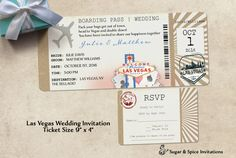 Las Vegas Wedding Invitation Ticket by SugarSpiceInvitation Vegas Wedding Invitations, Wedding Invitation Design, Boarding Pass Invitation, Las Vegas Weddings, Wedding Themes, Wedding Ideas, Ticket, Place Card Holders, Banquet