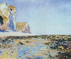Seashore and the Cliffs of Pourville in the Morning by Claude Monet in oil on canvas, done in Now in the Tokyo Fuji Art Museum. Find a fine art print of this Claude Monet painting. Monet Paintings, Impressionist Paintings, Landscape Paintings, Claude Monet, Pierre Auguste Renoir, Artist Monet, Oil Painting Reproductions, Am Meer, A4 Poster