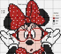 Discover thousands of images about Minnie de óculos ponto cruz, Minnie mouse cross stitch, punto de cruz patrone, point de croix Cross Stitching, Cross Stitch Embroidery, Embroidery Patterns, Cross Stitch Patterns, Baby Motiv, Pixel Crochet, Cross Stitch Fairy, Stitch Cartoon, Cross Stitch Boards