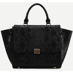 SheIn(sheinside) Black Snakeskin Leather Flap Handbag With Strap ($38) ❤ liked on Polyvore featuring bags, handbags, shoulder bags, handbag purse, snakeskin shoulder bag, handbags shoulder bags, snakeskin purse and snake print handbags