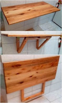 Impressive DIY Pallet Ideas for Your Home Renovation Much artistic form of the folding table designing work has been brilliantly. Diy Pallet Projects, Pallet Ideas, Wood Projects, Woodworking Projects, Woodworking Plans, Furniture Projects, Pallet Furniture, Furniture Makeover, Home Furniture