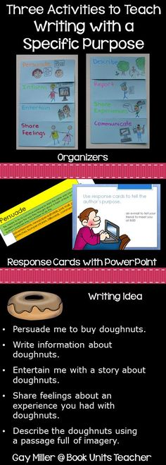 Three Activities to Teach Writing with a Specific Purpose including free printables and PowerPoint activites Teaching Activities, Teaching Writing, Teaching Strategies, Student Teaching, Creative Teaching, Teaching Resources, Teaching Ideas, Writing A Thesis Statement, Reading Skills