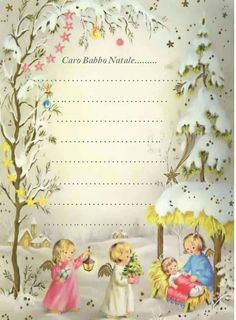 Letterina a Babbo Natale Printable Lined Paper, Planner Pages, Vintage Christmas Cards, Old Postcards, Letter Templates, Advent Calendar, Letters, Frame, Christmas Glitter