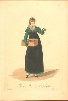 * Petite mercière ambulante Les Ouvrières de Paris (1824) details women's employments in Paris and shows a sequence of fashion from late 1810s to early 1820s.