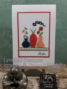 Simple stamped thank you card made with the Varied Vases stamp set from Stampin' Up! Hand Stamped Cards, Cardmaking And Papercraft, Stamping Up Cards, Card Patterns, Vases, Flower Cards, Cute Cards, Greeting Cards Handmade, Making Ideas