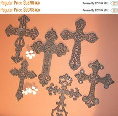 7)pcs, LOVELY CAST IRON CROSS WALL COLLAGE DECOR GREAT RELIGIOUS ...