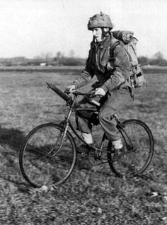 1939-1945 Paratrooper on a BSA Folding 'Airborne Bicycle'.