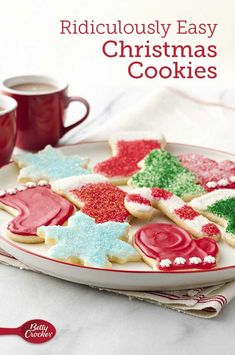 If you need a foolproof and easy sugar cookie recipe, you've come to the right place! This recipe starts with Betty's sugar cookie mix and ends with beautifully decorated Christmas cookies. Spritz Cookie Recipe, Sugar Cookie Recipe Easy, Easy Sugar Cookies, Best Christmas Cookie Recipe, Christmas Sugar Cookies, Holiday Cookies, Christmas Appetizers, Christmas Desserts, Christmas Goodies