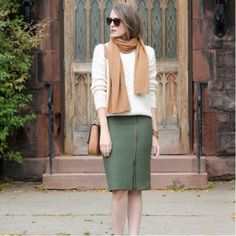 J.Crew Skirt and Dolce Vita Boots and Forever 21 Bag and Mango Sweater and H&M Scarf