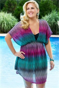 Women's Plus Size Cover Ups - Always For Me Cover Ribbons V Neck Tunic # 4005 - $39.00 from: AlwaysForMe.com