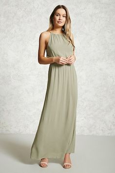 Style Deals - A crinkle woven maxi dress featuring a high-neck, self-tie back closure, an elasticized waist, and flowy silhouette. Flowy Prom Dresses, Blue Bridesmaid Dresses, Nice Dresses, Bridesmaids, Khaki Green Dress, Olive Green Dresses, Green Maxi, Forever 21, Wedding Stuff