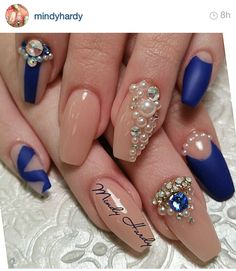 navy blue and nude matte nails w Perl bling