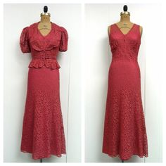 1930s Raspberry Lace Gown Jacket 30s Set